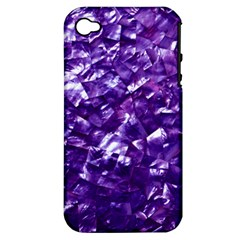 Natural Shimmering Purple Amethyst Mother of Pearl Nacre Apple iPhone 4/4S Hardshell Case (PC+Silicone)