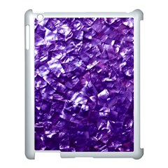 Natural Shimmering Purple Amethyst Mother of Pearl Nacre Apple iPad 3/4 Case (White)