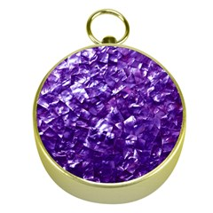Natural Shimmering Purple Amethyst Mother of Pearl Nacre Gold Compasses
