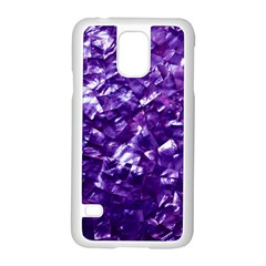 Natural Shimmering Purple Amethyst Mother of Pearl Nacre Samsung Galaxy S5 Case (White)