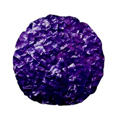 Natural Shimmering Purple Amethyst Mother of Pearl Nacre Standard 15  Premium Flano Round Cushions