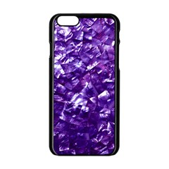 Natural Shimmering Purple Amethyst Mother of Pearl Nacre Apple iPhone 6/6S Black Enamel Case