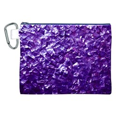 Natural Shimmering Purple Amethyst Mother of Pearl Nacre Canvas Cosmetic Bag (XXL)