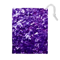 Natural Shimmering Purple Amethyst Mother of Pearl Nacre Drawstring Pouches (Extra Large)