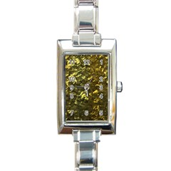 Bright Gold Mother of Pearl Nacre Pattern Rectangle Italian Charm Watch