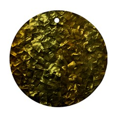 Bright Gold Mother of Pearl Nacre Pattern Ornament (Round)