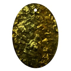Bright Gold Mother of Pearl Nacre Pattern Ornament (Oval)