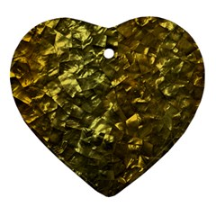Bright Gold Mother of Pearl Nacre Pattern Ornament (Heart)