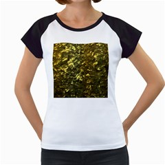 Bright Gold Mother of Pearl Nacre Pattern Women s Cap Sleeve T