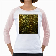 Bright Gold Mother of Pearl Nacre Pattern Girly Raglans