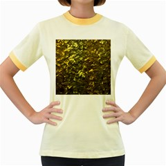 Bright Gold Mother of Pearl Nacre Pattern Women s Fitted Ringer T-Shirts