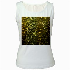 Bright Gold Mother of Pearl Nacre Pattern Women s White Tank Top