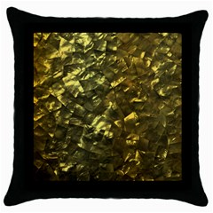Bright Gold Mother of Pearl Nacre Pattern Throw Pillow Case (Black)