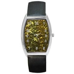 Bright Gold Mother of Pearl Nacre Pattern Barrel Style Metal Watch