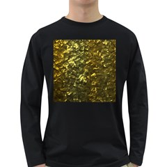 Bright Gold Mother of Pearl Nacre Pattern Long Sleeve Dark T-Shirts