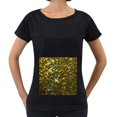 Bright Gold Mother of Pearl Nacre Pattern Women s Loose-Fit T-Shirt (Black)