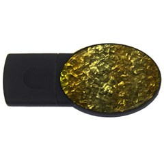Bright Gold Mother of Pearl Nacre Pattern USB Flash Drive Oval (4 GB)