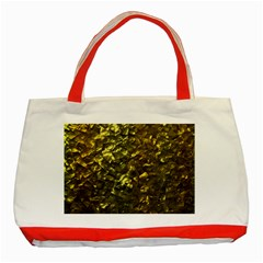 Bright Gold Mother of Pearl Nacre Pattern Classic Tote Bag (Red)