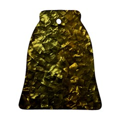 Bright Gold Mother Of Pearl Nacre Pattern Bell Ornament (two Sides)