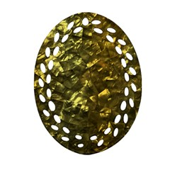 Bright Gold Mother of Pearl Nacre Pattern Ornament (Oval Filigree)