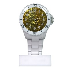 Bright Gold Mother of Pearl Nacre Pattern Plastic Nurses Watch