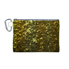 Bright Gold Mother of Pearl Nacre Pattern Canvas Cosmetic Bag (M)