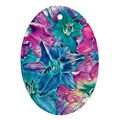 Wonderful Floral 22b Oval Ornament (two Sides)