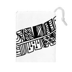 Feather Zentangle Drawstring Pouches (large)