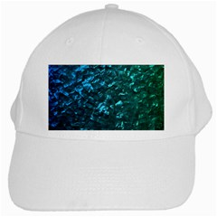 Ocean Blue and Aqua Mother of Pearl Nacre Pattern White Cap