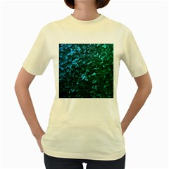 Ocean Blue and Aqua Mother of Pearl Nacre Pattern Women s Yellow T-Shirt