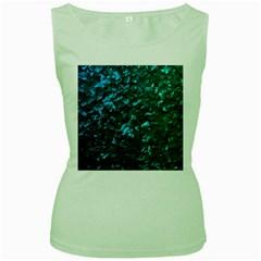 Ocean Blue and Aqua Mother of Pearl Nacre Pattern Women s Green Tank Top
