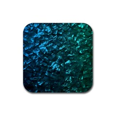 Ocean Blue and Aqua Mother of Pearl Nacre Pattern Rubber Square Coaster (4 pack)
