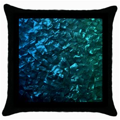 Ocean Blue and Aqua Mother of Pearl Nacre Pattern Throw Pillow Case (Black)