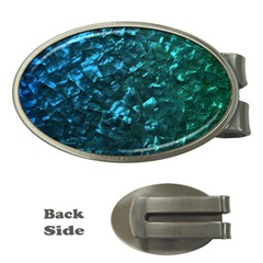 Ocean Blue and Aqua Mother of Pearl Nacre Pattern Money Clips (Oval)