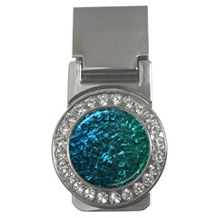 Ocean Blue and Aqua Mother of Pearl Nacre Pattern Money Clips (CZ)