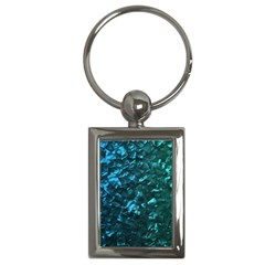 Ocean Blue and Aqua Mother of Pearl Nacre Pattern Key Chains (Rectangle)