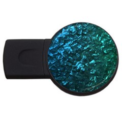 Ocean Blue and Aqua Mother of Pearl Nacre Pattern USB Flash Drive Round (1 GB)
