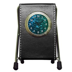 Ocean Blue and Aqua Mother of Pearl Nacre Pattern Pen Holder Desk Clocks