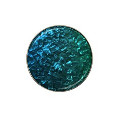 Ocean Blue and Aqua Mother of Pearl Nacre Pattern Hat Clip Ball Marker