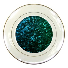 Ocean Blue and Aqua Mother of Pearl Nacre Pattern Porcelain Plates