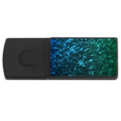 Ocean Blue and Aqua Mother of Pearl Nacre Pattern USB Flash Drive Rectangular (4 GB)