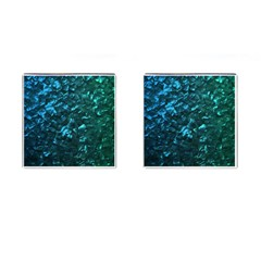 Ocean Blue and Aqua Mother of Pearl Nacre Pattern Cufflinks (Square)