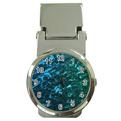 Ocean Blue and Aqua Mother of Pearl Nacre Pattern Money Clip Watches