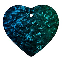 Ocean Blue And Aqua Mother Of Pearl Nacre Pattern Heart Ornament (two Sides)