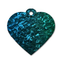 Ocean Blue and Aqua Mother of Pearl Nacre Pattern Dog Tag Heart (Two Sides)