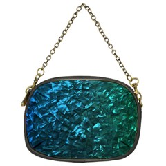 Ocean Blue and Aqua Mother of Pearl Nacre Pattern Chain Purses (Two Sides)
