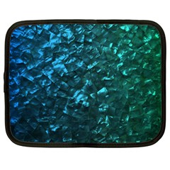 Ocean Blue and Aqua Mother of Pearl Nacre Pattern Netbook Case (XL)