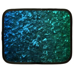 Ocean Blue and Aqua Mother of Pearl Nacre Pattern Netbook Case (XXL)