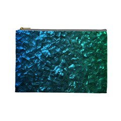 Ocean Blue and Aqua Mother of Pearl Nacre Pattern Cosmetic Bag (Large)