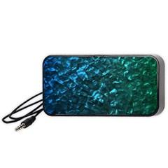 Ocean Blue and Aqua Mother of Pearl Nacre Pattern Portable Speaker (Black)